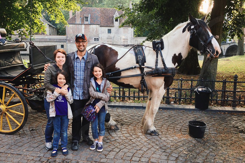 family posing with white and brown horse with carriage photo
