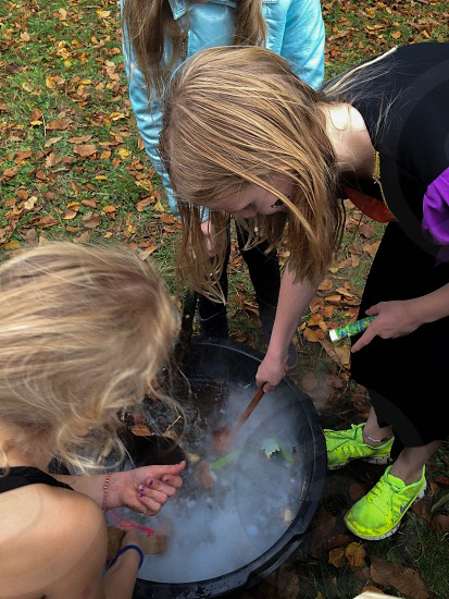Halloween cookingpot scary soup kids girls witch witch soup photo