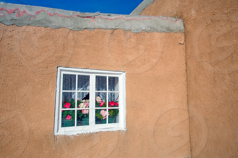 Decorative window frames flowers in New Mexico. photo