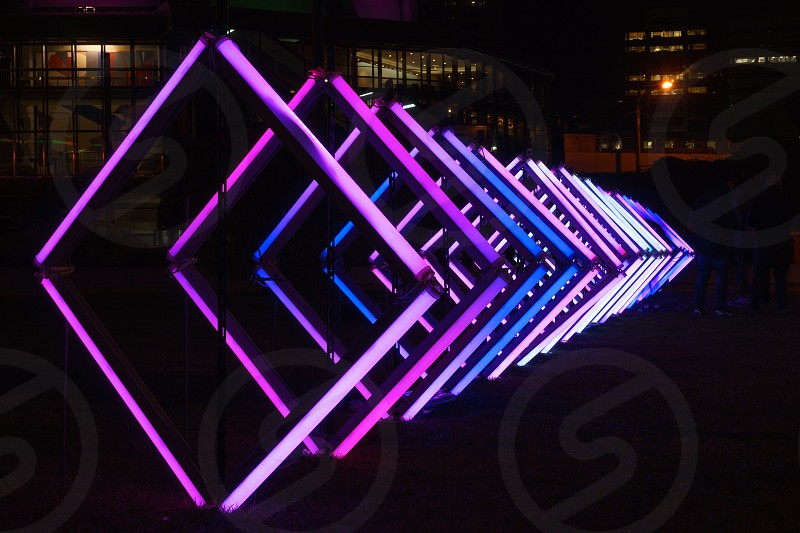 purple and blue fluorescent lights photo