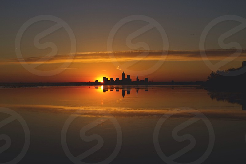 view of orange sunset photo