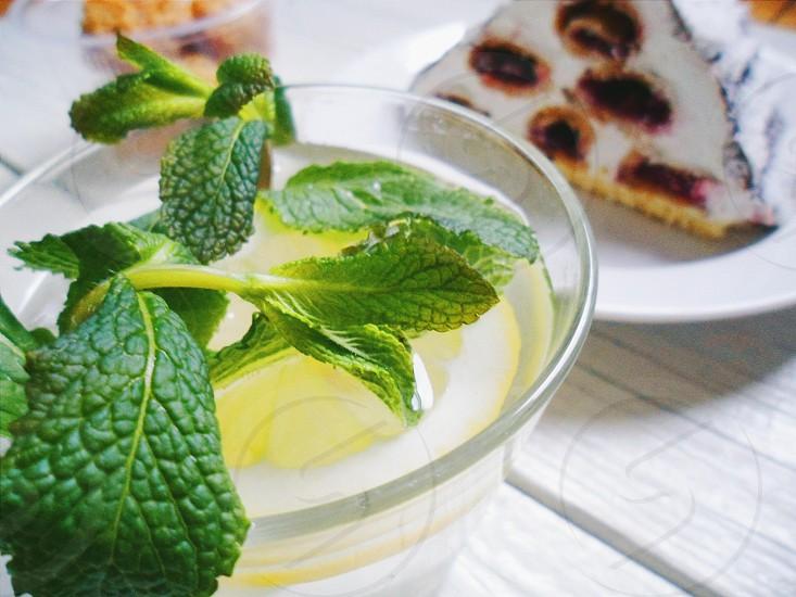 lemonade drink summer cocktail mint lemon fruit summer drink hot thirsty photo