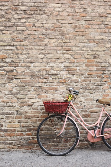 pink cruiser bicycle with basket photo