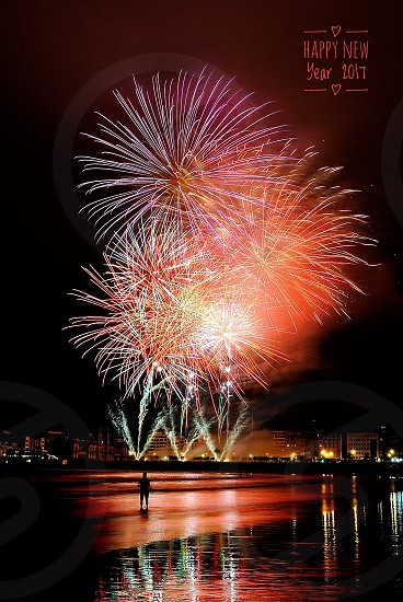 photograph of fireworks display during night time photo