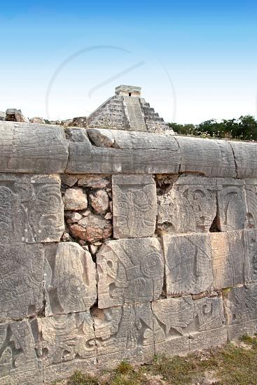 Chichen Itza hieroglyphics mayan pok-ta-pok ball court  Mexico Kukulkan pyramid photo