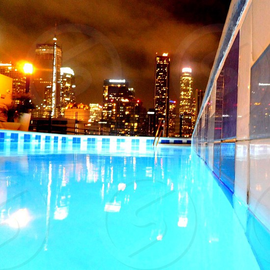 DowntownLA Pool Rooftop Night Swim City lights City view Night Life photo