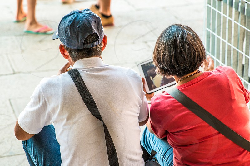 Couple Using Tablet photo