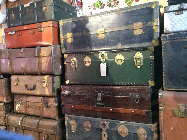 Old suitcases vintage antiques shop trunk trunks cases metal fabric flea market London shopping photo