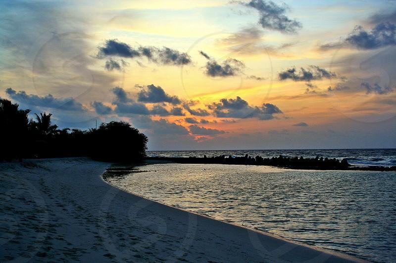 Sunset beauty colourful landscape seaside sand beautiful island summer Maldives photo