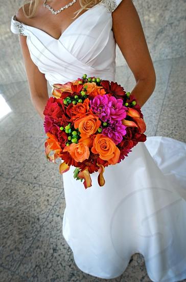 Bridal bouquet floral flowers wedding arrangement holding decor tradition photo