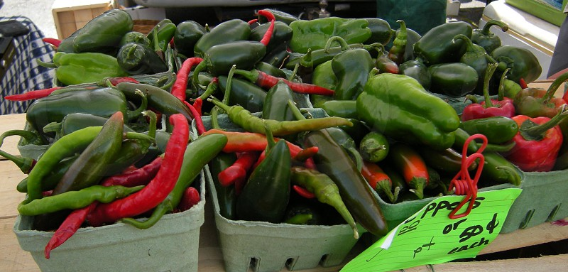 Peppers for sale at farmers market photo