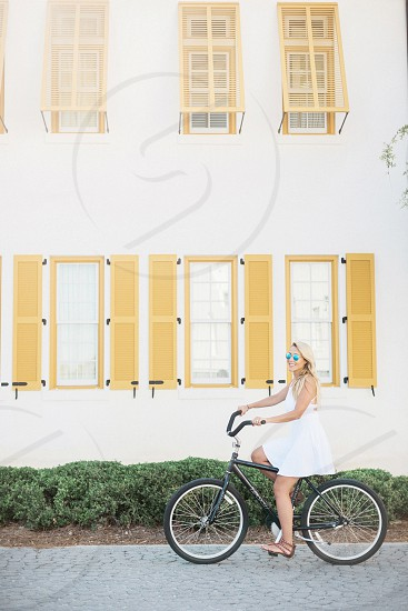 bike travel ride woman young adult photo