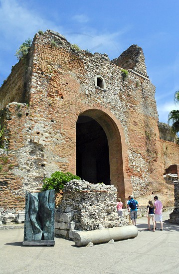 The famous Ancient Theatre of Taormina Sicily Italy photo