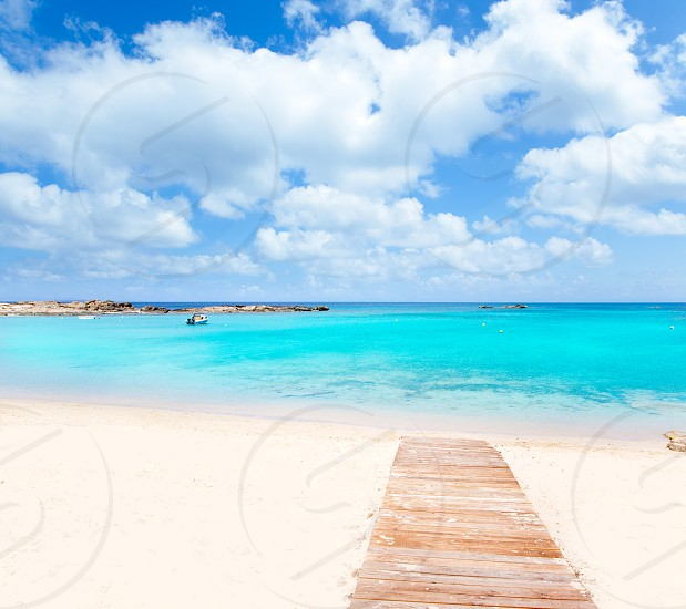 Els Pujols Formentera white sand beach turquoise water in Balearic islands photo