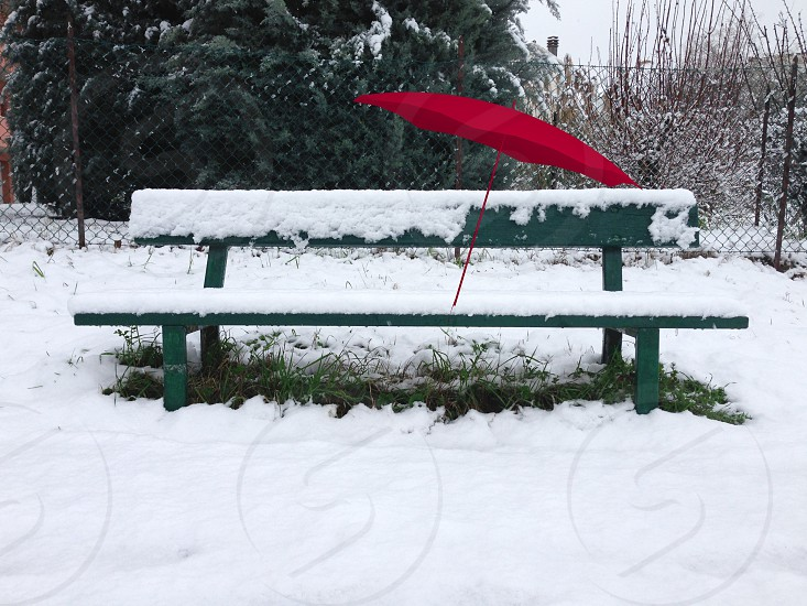 snow covered bench photo