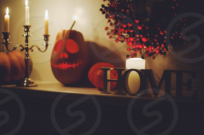 Halloween fog ominous pumpkin design cut candles night scary fear castle fireplace fire firewood fall October holiday celebrate day all saints autumn cozy funny cheerful sleepy hollow scary forest a dense hazy foggy forest apples harvest fruit warm November September orange citrus rustic style decor candy photo