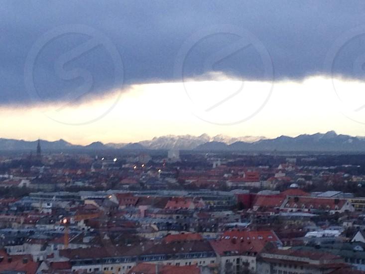 Alps emerging behind Munich photo