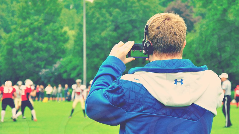 Football game shooting. photo