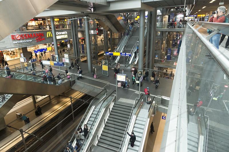 Interior view of the Berlin Hauptbahnhof. photo