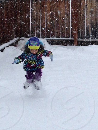 Little niece playing in her first big snow storm! photo