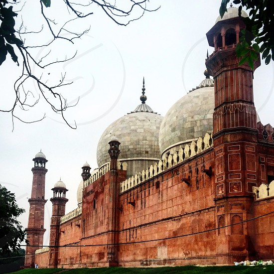An outside corner view of the Royal Mosque built by the Mughals in 1673 Pakistan. photo