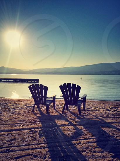 Chairs on a beach photo