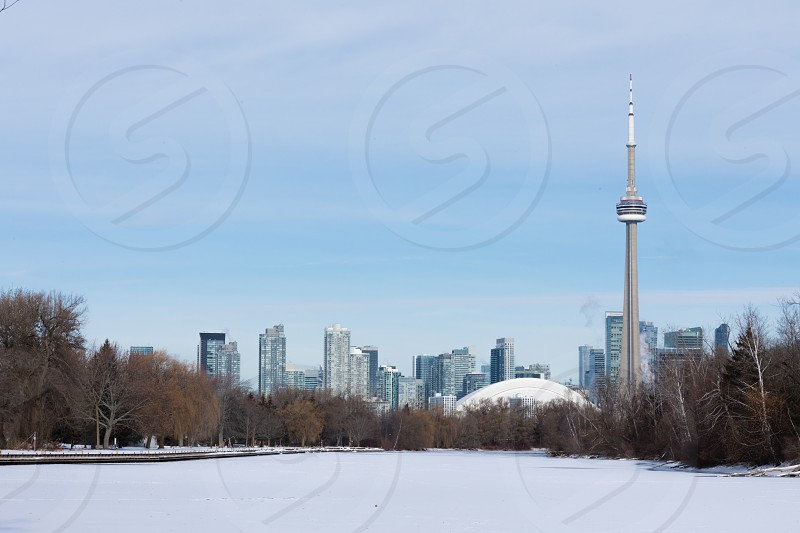 Winter on Toronto Islands with CN tower and skyline of Toronto downtown backdrop photo