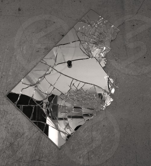 mirror reflection indoor cracks black and white indoor abstract still life  photo