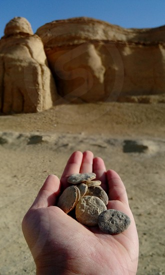 the rocks from almdwara mountain taking the shape of circles in Al-fayoum Egypt photo