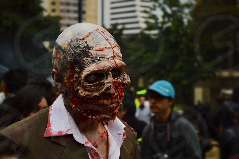 man in zombie makeup photo