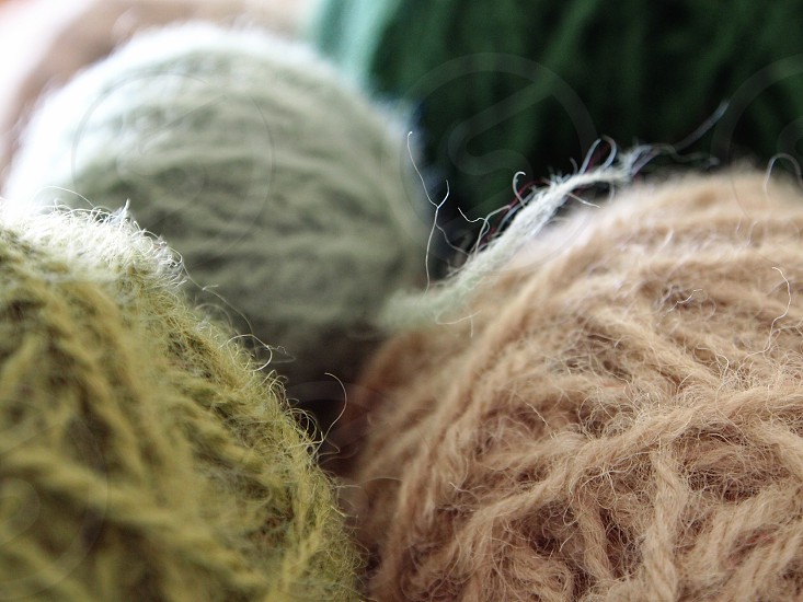 gray green peach rolled yarn photo