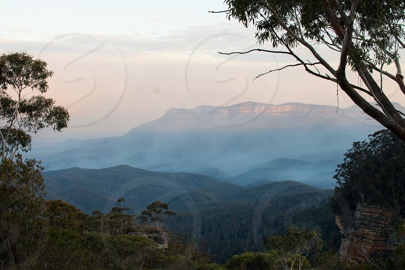 Foggy Blue Mountains in Katoomba Australia photo