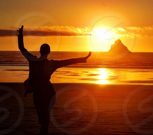 Sunset Dancing-Oregon Coast. photo