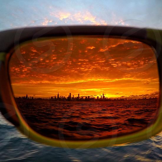 Skyline sunset sunglasses glasses color buildings skyscraper sun photo