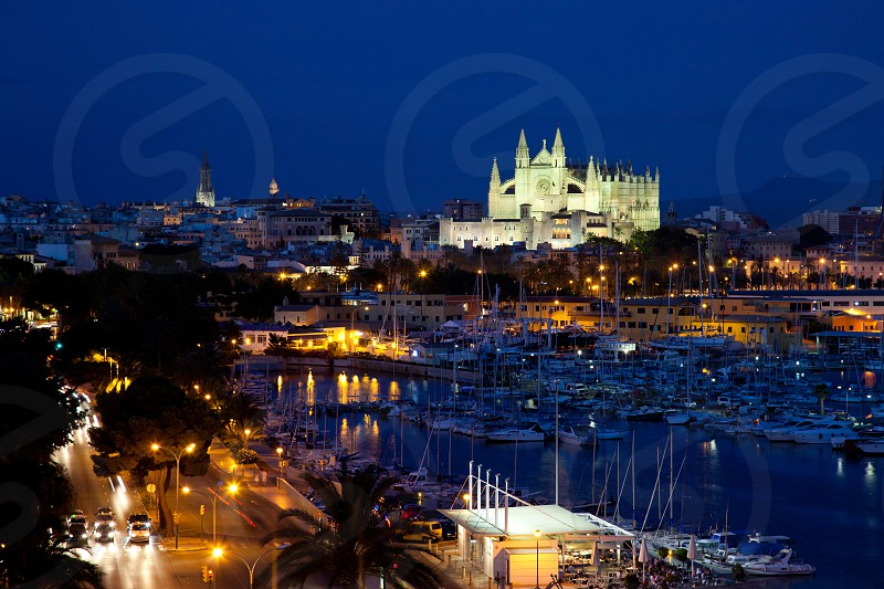 Best view of Palma de Mallorca with the Cathedral Santa Maria by night. photo