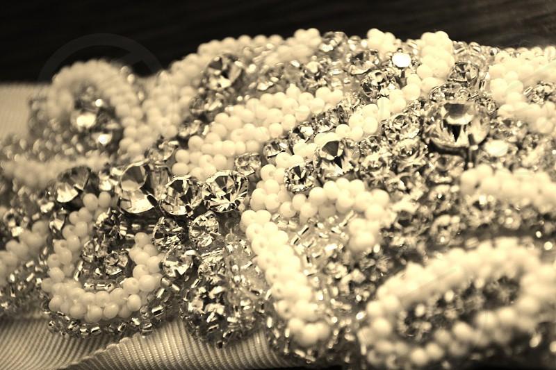 Glitter Crystal wedding dress sparkle sepia photo