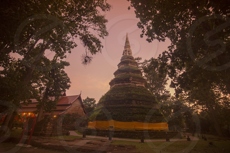 the chedi Luang near the town of Chiang Saen in the north of the city Chiang Rai in North Thailand. photo