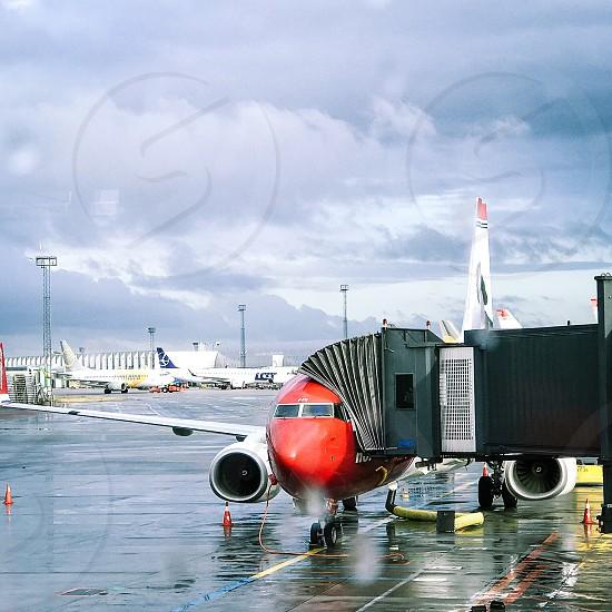 Airport airplane  gate ground wing plane  parking parked gateway runaway flight travel  photo