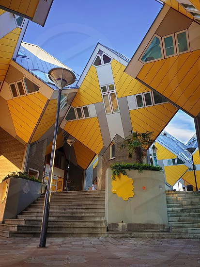 Cube houses under clear blue sky in Rotterdam the Netherlands. Representing a village where each house is a tree. A lot of quirky yellow unusual cube shape architecture apartment block. photo