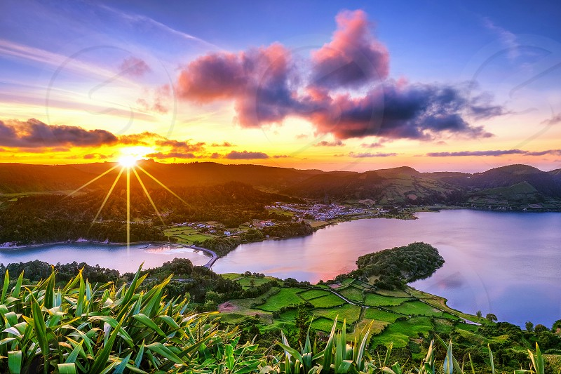 Sete Cidades Lake on azores island at sunset photo