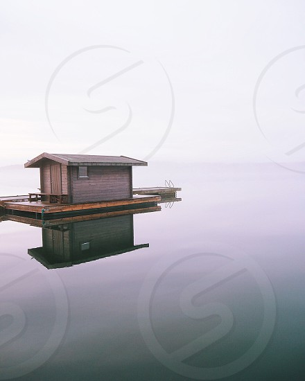 Symmetry symmetric nature fog foggy mist misty fall autumn dock  house water reflection cottage photo