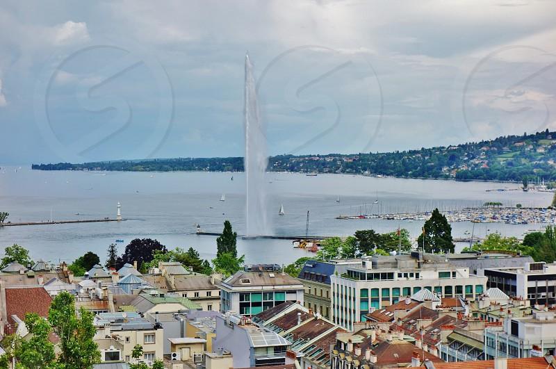 The Jet d'Eau fountain on the lake in Geneva Switzerland photo