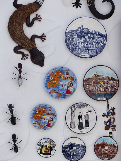 Ibiza souvenirs enamel plates photo