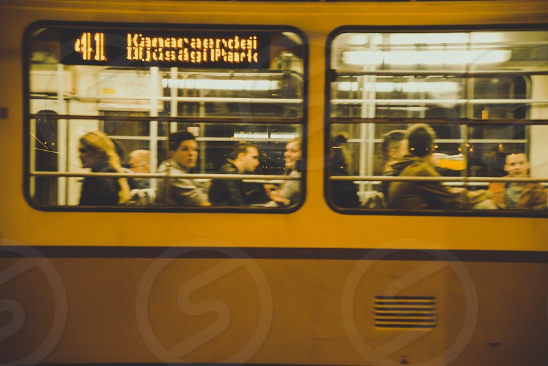 Passing tram in Budapest full of people. photo