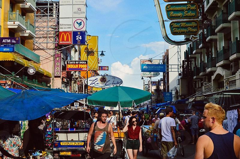 City life crowded street photo
