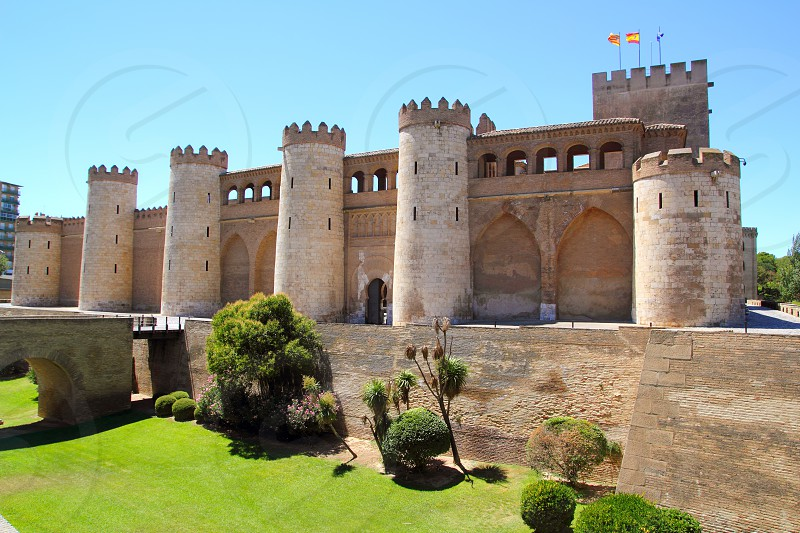 Aljaferia palace castle in Zaragoza Spain Aragon outdoor blue sky photo