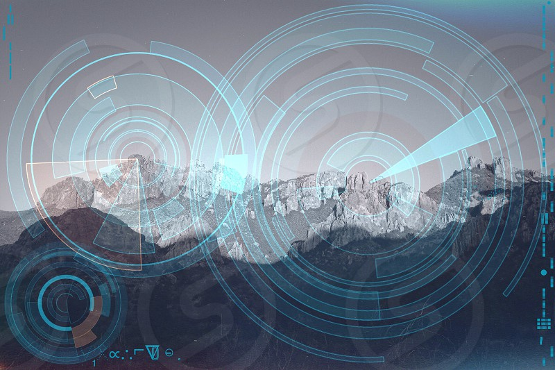 mountain range with circles photo