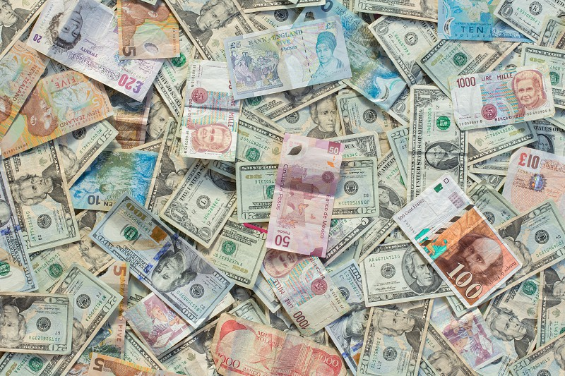 A variety of foreign currency photo