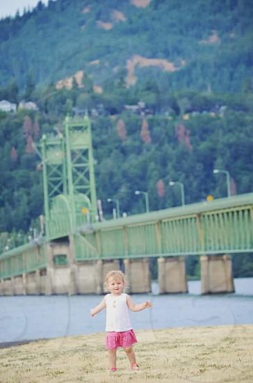 Little toddler big bridge Hood River Oregon photo