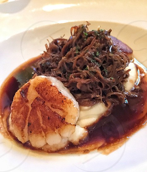 Scallops beef tips potatoes incredible food fine dining appetizer yummy  photo